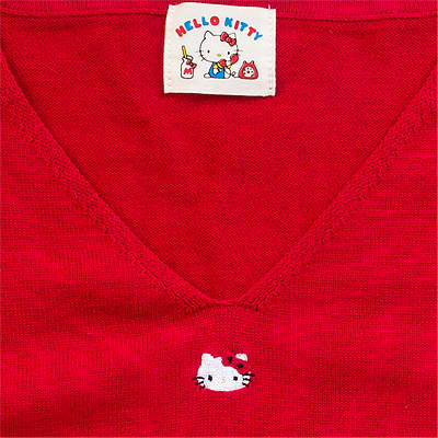 86a539525 CHARACTER: Hello Kitty TAGS: sanrio   original   originals   hello kitty    cat   kitten   embroidery   knit   sweater   jumper   v-neck   harajuku    fashion ...