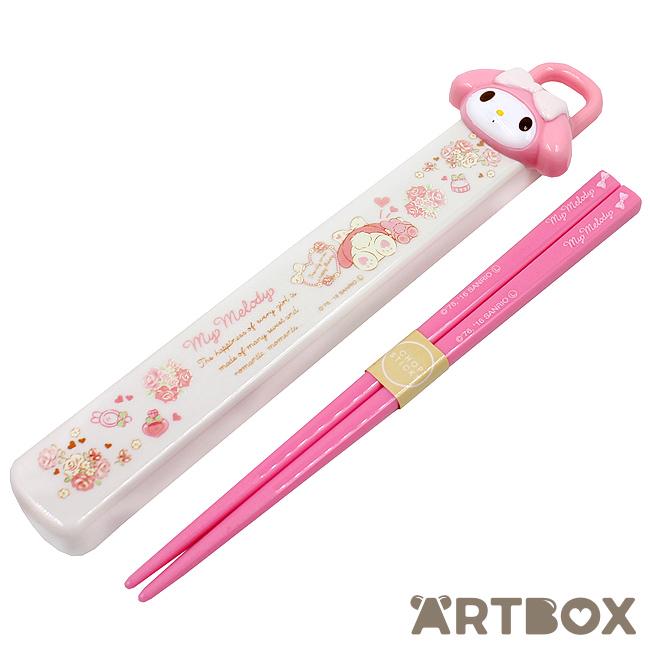Sanrio Chopsticks w// Case set Hello Kitty Die cut 18cm from Japan