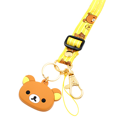 San-X Rilakkuma Neck Strap Kiiroitori With Mascot Lanyard Key Chain Holder