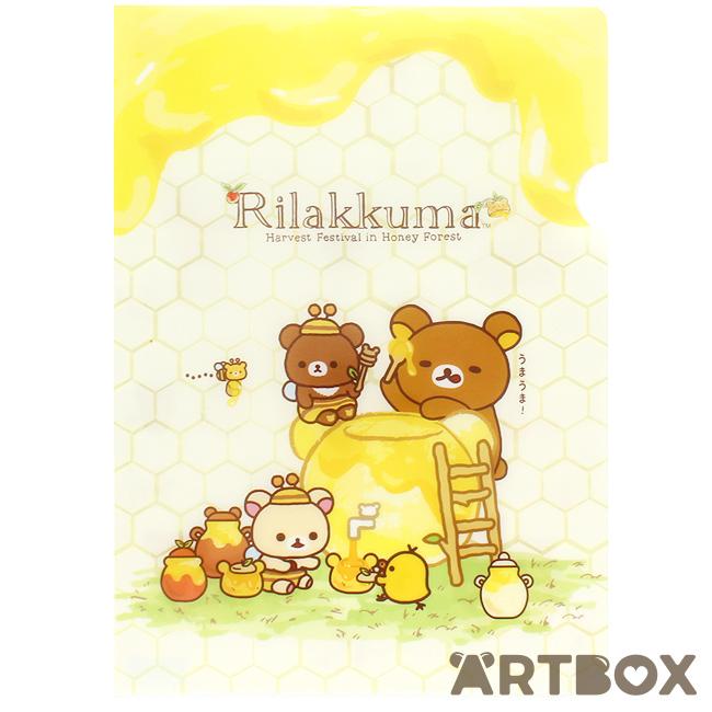 San-X Rilakkuma Korilakkuma plastic clear folder A4 Yellow Pattern ...