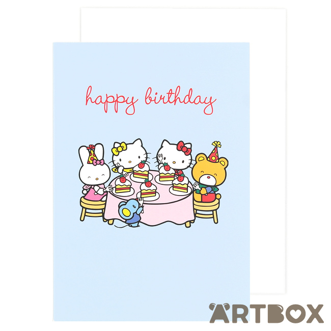 Buy Sanrio Hello Kitty Friends Tea Party Blue Birthday Card At Artbox