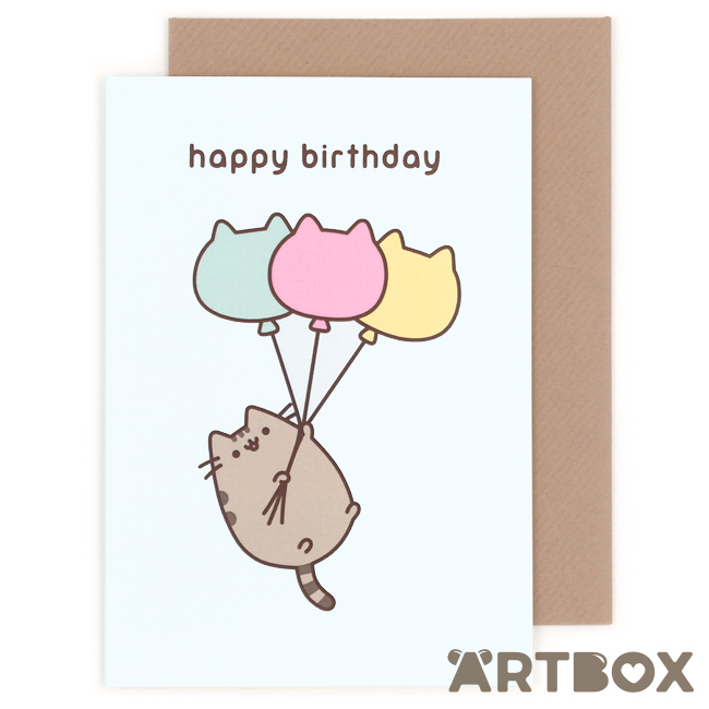Buy Pusheen The Cat Happy Birthday Balloons Greeting Card At Artbox