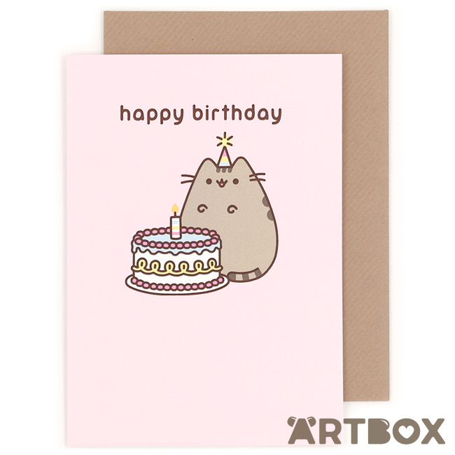 Buy pusheen the cat happy birthday cake greeting card at artbox colourmoves Images