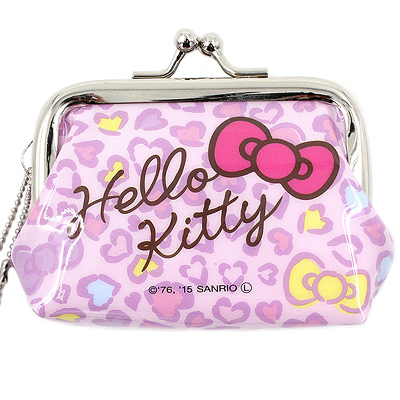 d36ece292 CHARACTER: Hello Kitty TAGS: sanrio | hello kitty | neko | leopard print |  pink bow | purse | clasp | coin | pouch | japanese | kawaii