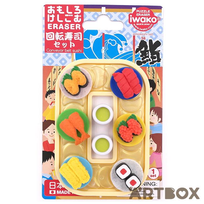 IWAKO Sushi Blister Erasers IWAKO Japanese Food Puzzle Erasers Rubbers