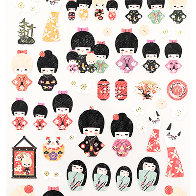 Buy suatelier japanese kokeshi doll seal stickers at artbox for Stickers kokeshi